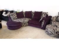 NEW Graded Left hand corner Cuddle sofa with armchair and 2 half moon footstools FREE LOCAL DELIVERY