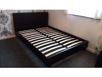 Double Faux Dark Brown Leather Bed and Mattress