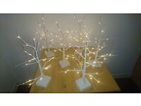 6 Wedding table Centre pieces Trees with lights and crystals WHITE