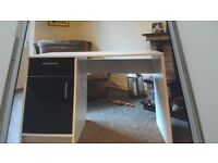 Black and white desk with drawer and cupboard brought from Argos very good condition.