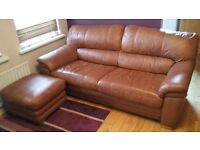 Brown leather 3 seater sofa and footstool