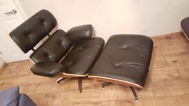 Charles Eames Inspired Lounge Chair & Ottoman by Wallace Sacks | UK Handmade | Delivery Available |
