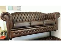Chesterfield brown leather 3 seater sofa. AS NEW!. BARGAIN!