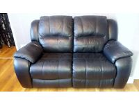 Black 2 seater recliner sofa for sale.
