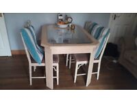 Dining wooden table and 4 chairs