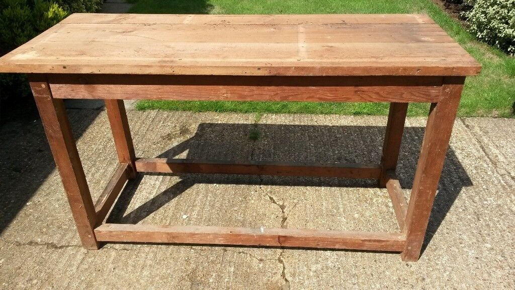 Large Vintage Wooden Work Bench For Up Cycling To Kitchen Island Bar Table