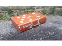Vintage Retro Revelation Brown Suitcase Luggage Trunk Storage Display Labelled Case