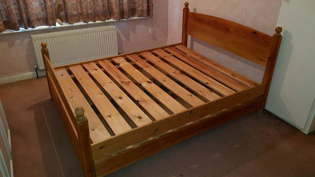 Solid Pine King Size Bed Frame with storage drawers by Warren Evans - no mattress