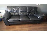 3 seater leather black sofa