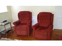 3 piece suite. Electric recliner riser arm chairs, matching sofa. Will split for sale