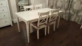 Extendable white dining table and chair set - excellent condition barely used - (over £400 RRP)