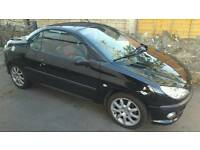 Peugeot 206cc 2.0 Black w/Black & Red Leather Interior