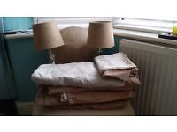 FAUX SUEDE CURTAINS, DUVET SET, LAMPS, UPLIGHTER
