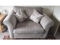 cuddle sofa Cream check. Lovely condition. 2 chairs with silver legs lovely condition