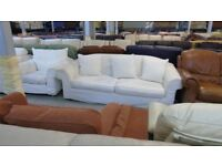 PRE OWNED 3 Seater + Armchair in Cream Fabric