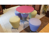 Compact retro style table and four chairs