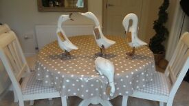 4 CREAM WOODEN DUCKS. SIMILAR TO DCUK. WITH NAME TAGS. £7.50 EACH