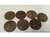 Old british penny coins 1874 -1900