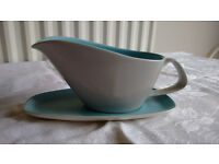 Poole Pottery gravy boat and saucer