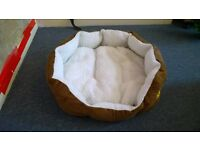 Brown and white cat bed