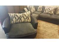 Grey Corner sofa & large swivel chair. delivery available