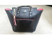 Black and Coral Paul's Boutique Handbag with matching purse