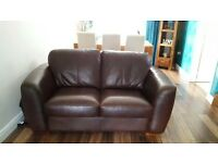 3 and 2 seater brown leather suite