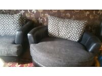 5 seater Black leather and fabric sofa set with swivel chair
