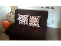 Sofa bed chocolate brown vgc