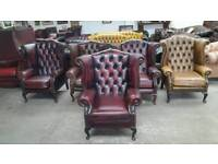 Winchester oxblood leather chesterfield queen Anne wingback chair UK delivery CHESTERFIELD LOUNGE