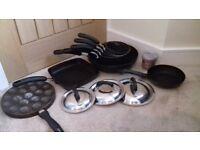 Set of circulon pans including wok and 2 other non-circulon pans