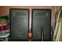 PA system - Speakers, stands and leads included.