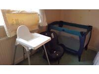 Grandparents/New parents survival kit! Car seat, travel cot & high chair