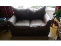 2 seater leather sofa. Chocolate brown. Collins & Hayes.