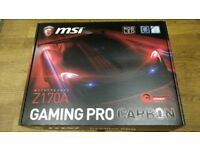 MSI Z170A Gaming Pro Carbon Socket 1151 DVI-D HDMI 7.1 Channel HD Audio ATX Motherboard