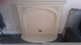 Sandstone effect mdf fireplace and electric fire