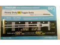 Heavy duty m6 toggle bolts