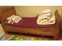 Sturdy, beautiful wooden sleigh single bed with mattress