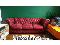 3 seater chesterfield sofa blood red leather vintage shabby chic
