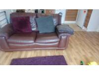 Large DFS leather Two seater sofa.