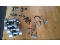 V FIT LIGHT WEIGHT DUMBBELLS AND STAND + OTHER EQUIPMENT