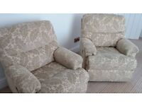 Two lovely Gplan upholstered manual reclining chairs