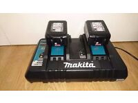"NO OFFERS!!! MAKITA DC18RD 7.2v-18v ""TWIN""li-ion lithium ion 22 MIN battery charger + 2x4ah batterys"
