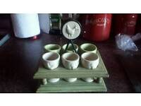 Doulton lambeth style. Vintage stone stand with 6 egg cups