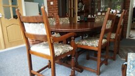 Old Charm dining table and 6 chairs