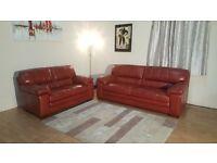 Ex-display Carolina red leather 3 + 2 seater sofas