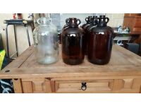 Used One Gallon Demijohns, Wine Making - Clear glass and Red Glass £5 each