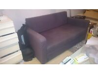 Two seater Ikea sofa bed (brown)