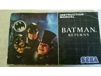 Batman returns Sega game manual