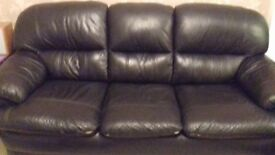 Black leather effect 3 seater +2 seater Free still plenty of life in it. Need it gone before Thurs